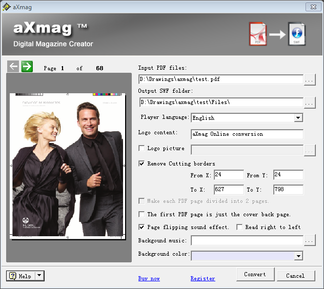 aXmag PDF to Flash Converter Screen shot